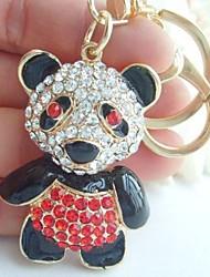 Charming Bear Panda Key chain With Red & Clear Rhinestone crystals