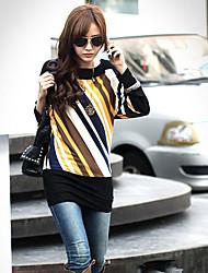 Women's Yellow T-shirt , Bateau Long Sleeve