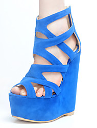 Women's Shoes Fleece Wedge Heel Wedges / Gladiator Sandals Party & Evening / Dress / Casual Blue