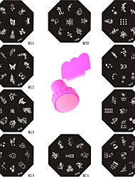 10pcs Steel Plates + 1 Stamper & Scraper DIY Nail Art Image Stamp Stamping Plates Manicure Template Styling Tools