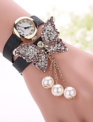 Butterfly Leather Bracelet Watch Relojes Mujer 2015 Women Rhinestones Watch Fashion Woman Quartz Watch relogio feminino Cool Watches Unique Watches
