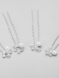 Women's / Flower Girl's Alloy / Imitation Pearl Headpiece-Wedding / Special Occasion Hair Pin 4 Pieces