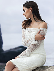 Sheath/Column Knee-length Wedding Dress - Off-the-shoulder Lace