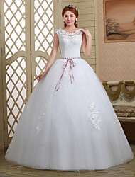 Ball Gown Wedding Dress - White Floor-length Off-the-shoulder Lace/Tulle