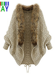 ZAY Women's Free Fur Collar Batwing Sleeve Loose Knit Cardigan