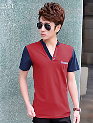 The spring and summer of 2015 new men's Korean men's casual slim solid color V short sleeved POLO shirt collar