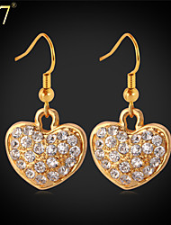U7® Women's Gold Earrings Fashion Jewelry Platinum/Gold Plated Wholesale Cheap Rhinestone Crystal Heart Drop Earrings