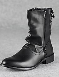 Sapatos Masculinos Botas Preto Couro Casual