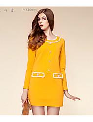 Women's Dress , Bodycon/Work Round Neck Long Sleeve Button