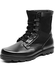 Men's Spring / Summer / Fall / Winter Bootie / Work & Safety / Ankle Strap Leather / Canvas Outdoor / Athletic Flat Heel Lace-up Black