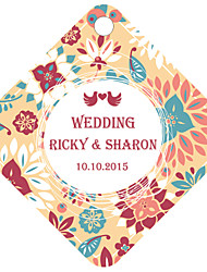 Personalized Rhombus Wedding Favor Tags - Colorful Design (Set of 36)