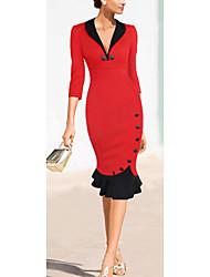 Women's V-Neck Bandage Dress , Cotton Blend Vintage/Bodycon/Casual/Party/Work Long Sleeve VERYM