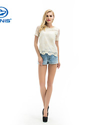 CANIS@Women's Chiffon Short Sleeve Embroidery Blouse