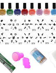 Fashion Designs Nail At Template Set,10PCS Nail Plates + 10 Colors Nail Stamp Polish +Stamper + Scraper