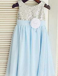 A-line Tea-length Flower Girl Dress - Chiffon/Sequined Sleeveless
