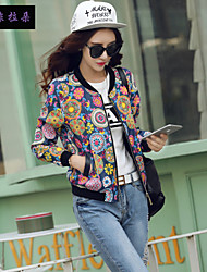 Women's Round Neck Flower Short coat Blouse Baseball movement clothing  , Spandex/Polyester Long Sleeve