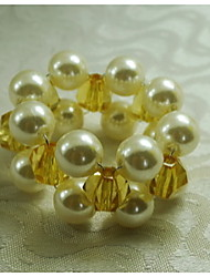 Pearl With Acrylic Hand Knitted Napkin Ring, Acrylic, 1.77Inch, Set of 12