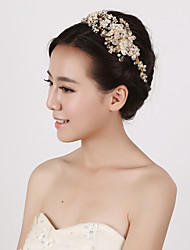 Vintage Charming Design Wedding Bride Handmake Headband Necklace Cown Pearls Hair Accessior Flower Gold