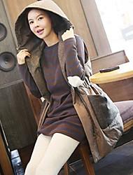 Women's Color Block Brown Vest , Hooded Sleeveless