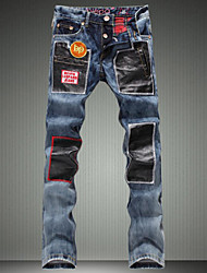 Men's Casual Patchwork Denim Jeans Straight Pants