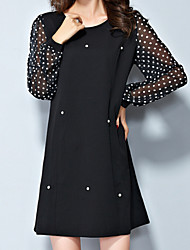 Women's Casual/Daily Plus Size Dress,Polka Dot Round Neck Above Knee Long Sleeve Black Fall