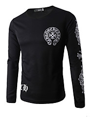 Men's Fashion  Printed O-Neck Long Sleeved Tattoo T-shirt