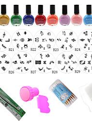 Nail Art Stamp Nail Printing Template(10PCS Nail Plates + 10 Colors Stamping Special Polish +Stamper + Scraper)