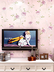 New Rainbow™ Contemporary Wallpaper Art Deco Purple Flower Wall Covering Non-woven Fabric Wall Art