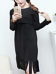 Vestido de maternidad Midi Algodón - Escote Redondo Manga Larga