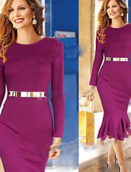Aier Women's Solid Color Purple Dresses , Bodycon / Party Round Long Sleeve
