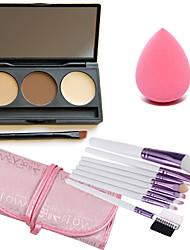 3 couleurs anticernes visage palette + fondation brosse oblique + maquillage beauté fondation oeuf puff