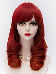 Fashion Medium Long Kinky Curly Hair With Side Bang Red Synthetic Harajuku Lolita   Party Wig
