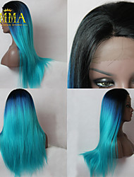 2015 New Ombre Wig Black to Blue Romantic Long Straight Wig Natural Soft Remy Hand Tied Lace Front Wig Emma