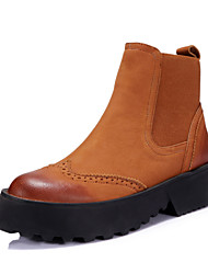 Women's Shoes Leather Platform Fashion Boots/Round Toe Boots Dress/Casual Black/Brown