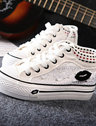 Canvas Lady  Women's Shoes Black/Pink/White Platform 0-3cm Fashion Sneakers