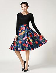 Women's Casual/Print Knee-length Skirts , Cotton/Spandex Micro-elastic Blue