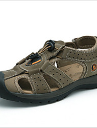 Men's Shoes Outdoor Leather Sandals Brown/Gray