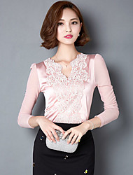 Women's Tops & Blouses , Mesh Vintage/Sexy/Bodycon/Lace/Party/Work Long Sleeve Q.S.H