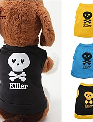Dog / Cat Shirt / T-Shirt Black / Blue / Yellow Summer Skulls / Letter & Number Wedding / Cosplay