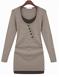 Women's Round Neck Button Dress , Cotton Mini Long Sleeve