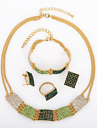 Westernrain Women Vintage/Cute/Party/Work Suits Alloy/ Green Colorful Rhinestone New Arrival Fashion Jewelry Set