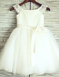 Princess Ivory Knee-length Flower Girl Dress - Lace/Tulle Cap Sleeve