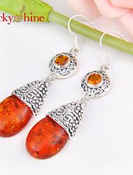 Ohrring,Tropfen-OhrringeSchmuck 2 Stück versilbert Silber / Orange