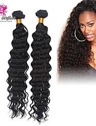 3pcs / lot 7a mongol cheveux vierges profonde vague de boucle 100% cheveux humains poils non transformés