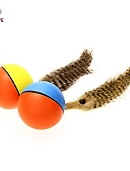 Cat Toy Dog Toy Pet Toys Ball Feather Toy Electronic Red Blue Brown Yellow Plastic