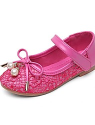 Girls' Shoes Wedding/Party & Evening/Dress/Casual Mary Jane/Comfort/Closed Toe Lace/Tulle Flats Black/Pink/Red