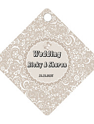 Personalized Rhombus Wedding Favor Tags - Silver Design (Set of 36)
