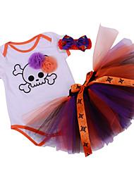 BHL Infant Baby Girl's Climb Romper Hoodies Clothing And Skirt Set with Headband Skull Pattern Baby Bodysuit