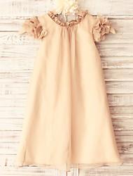 Fourreau / Colonne Mi-long Robe de Demoiselle d'Honneur Fille - Mousseline de soie Manches Courtes Décolleté avec