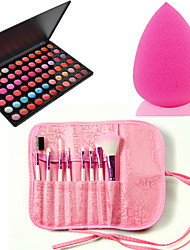 Pro 8pcs Makeup Brushes Set Foundation Eyeshadow Lip +66 Color Lipstick cosmetic palette Lip Gloss +Sponge Blender Puff